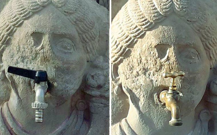 Altro smacco a Pompei, rubinetto incastrato in fontana di duemila anni fa: la foto choc